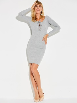 Ericdress Slash Neck Lace-Up Plain Sweater Dress