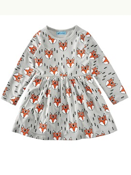 Ericdress Stylish Fox Printed Long-Sleeve Pleated Girls Dress