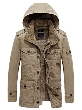 Ericdress Hooded Pockets Zipper Solid Color Men's Coat