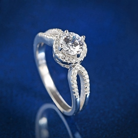 Ericdress S925 Sterling Silver Round Cut Women's Wedding Ring