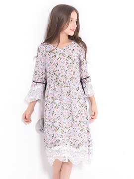 Ericdress Sweet Floral Mesh Hollow Hem Bell Sleeves Girl's Dress