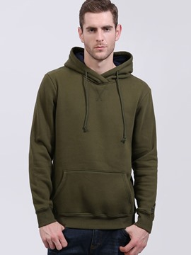 Ericdress Big Pocket Fleece Thicken Warm Men's Hoodie