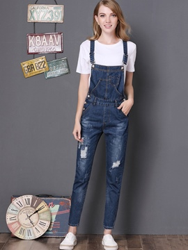 Ericdress Slim Denim Plain Women's Overalls