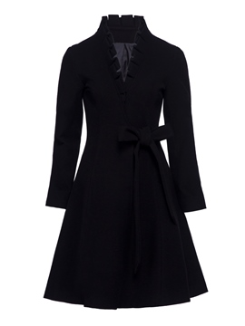 Ericdress Ruffle Belt Mid-Length Trench Coat