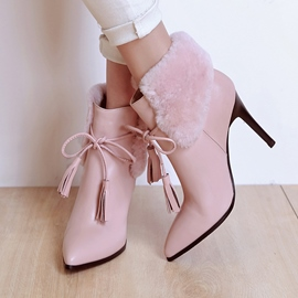 Ericdress Pointed Toe Fringe Patchwork High Heel Boots