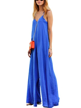 Ericdress Pleated Cotton Strap Jumpsuits Pants