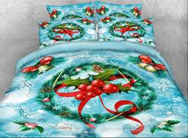 Vivilinen 3D Christmas Wreath with Red Berries Printed 4-Piece Bedding Sets/Duvet Covers