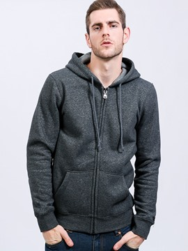 Ericdress Plain Pocket Zip Simple Casual Men's Hoodie
