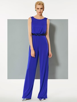 Ericdress Sheath Scoop Neck Beaded Waistline Evening Jumpsuit