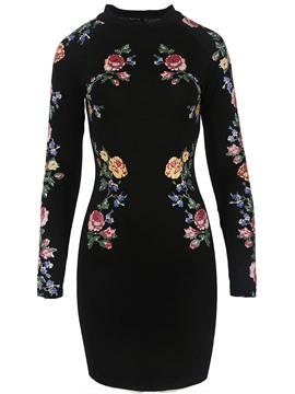 Ericdress High Neck Long Sleeve Floral Print Bodycon Dress