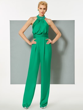 Ericdress Sheath Applique Beaded Halter Evening Jumpsuit