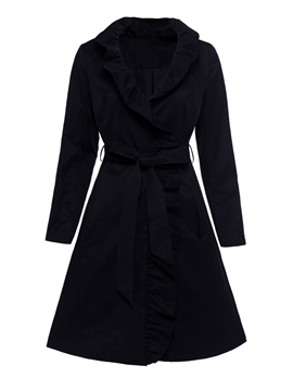 Ericdress Ruffles Mid-Length High Waist Coat