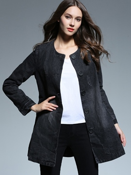 Ericdress Plain Single-Breasted Mid-Length Trench Coat