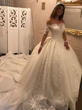 Ericdress Off The Shoulder Long Sleeves Ball Gown Appliques Wedding Dress