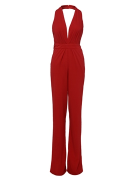 Ericdress V-Neck Sleeveless White Women's Jumpsuit