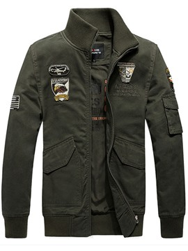Ericdress Zip Embroidery Patched Vogue Casual Men's Jacket