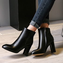 Ericdress Plain Square Toe Chunky Heel Boots