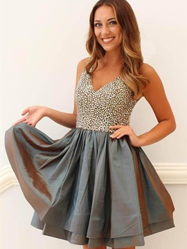 Ericdress A Line V Neck Beaded Short Homecoming Dress