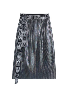 High-Waist Letter Print Lace-Up Women's Skirt