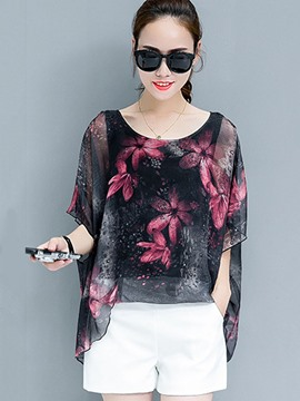Ericdress Loose Floral Print Half Sleeve Blouse