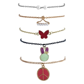 Ericdress Attractive Multilayers Pendant Chain Candy Color Bracelet