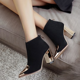 Ericdress Floral Pointed Toe Chunky Heel Boots
