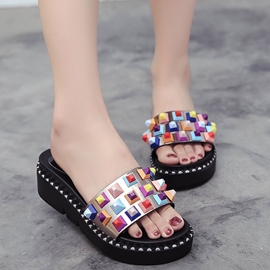Ericdress Flip Flop Rivet Candy Color Mules Shoes