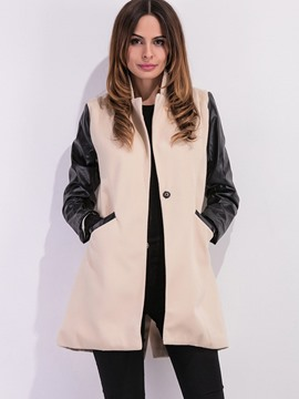 Ericdress Mid-Length Patchwork One Button Trench Coat