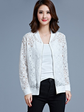 Ericdress Plus-Size Plain Zipper Lace Jacket