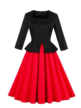 Ericdress Square Neck Pleated Color Block A Line Dress