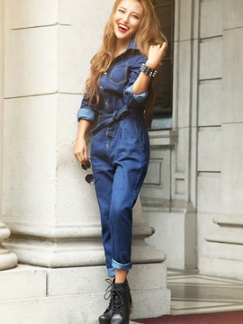 Ericdress Langarm lace-up Denim Overalls Hosen
