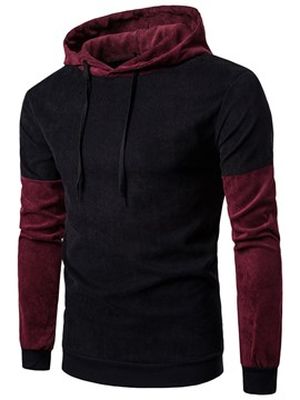 Ericdress Corduroy Color Block Patched Casual Men's Hoodie