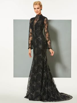 Ericdress High Neck Lace Long Sleeves Mermaid Court Train Evening Dress