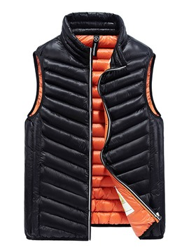 Ericdress Plain Zip Lightweight Down Casual Slim Men's Vest