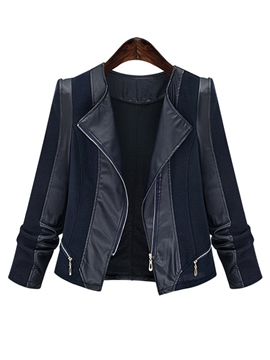 Ericdress Plus-Size Zipper Color Block PU Jacket