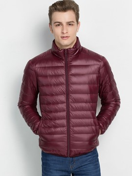 Ericdress Solid Color Slim Zipper Men's Winter Coat