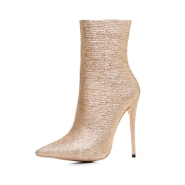 Ericdress Golden Pointed Toe Side Zipper High Heel Boots