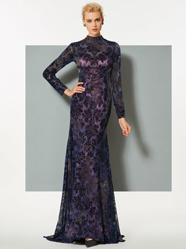 Ericdress High Neck Long Sleeve Lace Mermaid Evening Dress