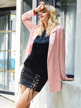 Ericdress Notched Lapel Double-Breasted Mid-Length Blazer