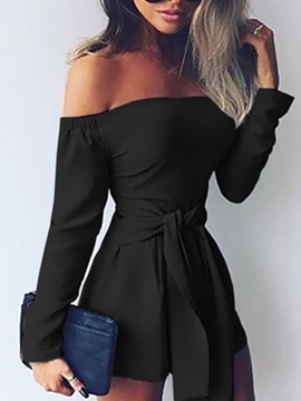 Ericdress Slash Neck Lace-Up Jumpsuits Pants