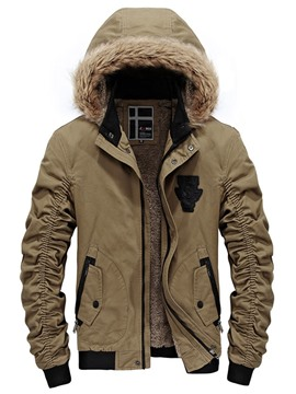 Ericdress Zip Fur Collar Thicken Warm Men's Winter Coat