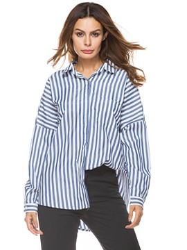 Ericdress Loose Mid-Length Stripe Swallowtail Blouse