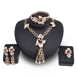 Ericdress Flower Diamante Tassel Blue Sapphire Inlay Jewelry Set