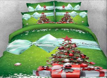 Vivilinen Christmas Tree and Bowknot Printed 4-Piece Green 3D Bedding Sets/Duvet Covers
