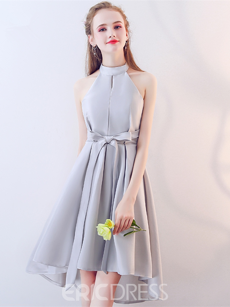 Ericdress A Line Halter Asymmetry Lace-Up Homecoming Dress