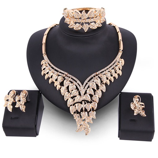 Ericdress Exquisite Leaf-Shaped Diamante Women's Jewelry Set