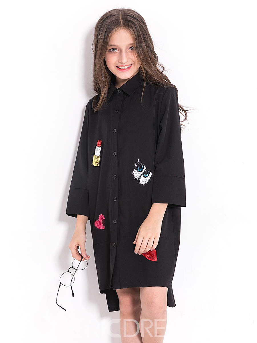 Ericdress Fashion Letter And Lips Printed Shirt-Like Girls Dress