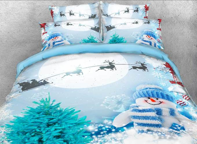 Vivilinen Santa and Sleigh Snowman Printed Cotton 3D 4-Piece Bedding Sets/Duvet Covers