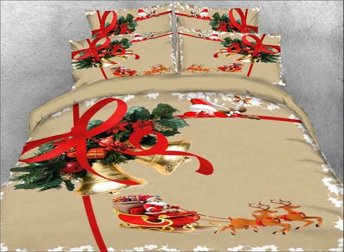 Vivilinen Christmas Bell and Santa Claus Printed 3D 4-Piece Bedding Sets/Duvet Covers