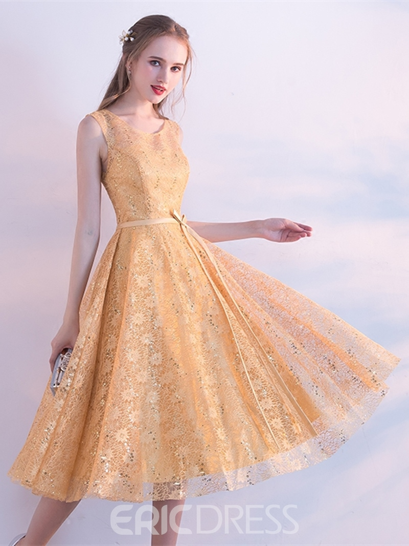 Ericdress A Line Scoop Neck Lace Tea Length Homecoming Dress